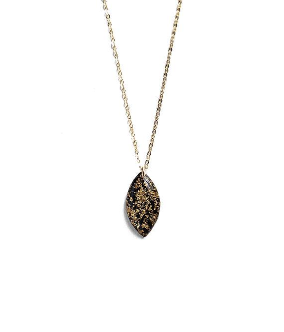 Black & Gold Leaf Marquise Necklace