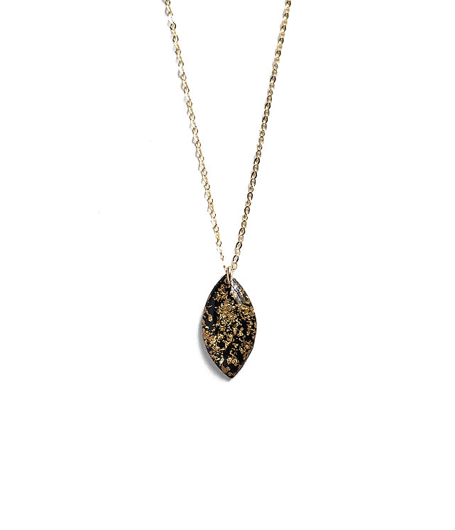 Black & Gold Leaf Marquise Necklace