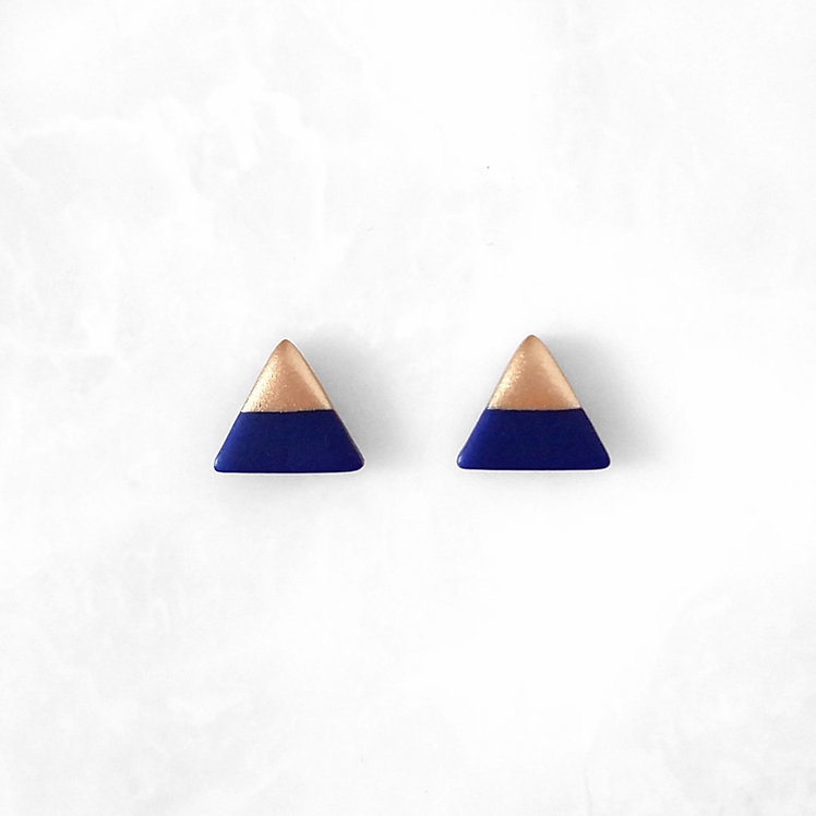 Navy Blue Triangle Studs