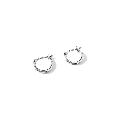 14k Solid White Gold Hoops