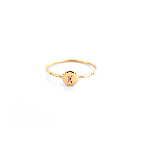 Tiny Initial Disc Ring | 5mm