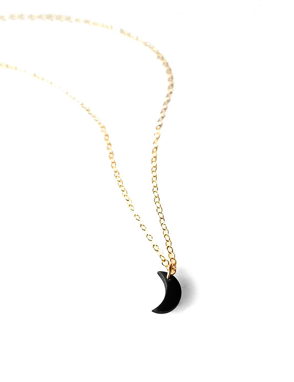 Tiny Black Crescent Moon Choker or Necklace