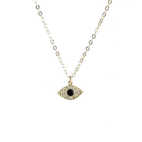 Onyx Evil Eye CZ Necklace