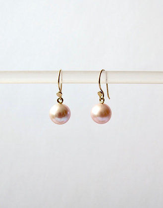 Small Pink Pearl earrings with 14k