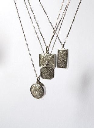 Glitter filled sterling silver pendant