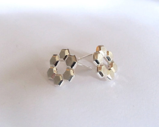 Faceted Geometric circular stud earrings