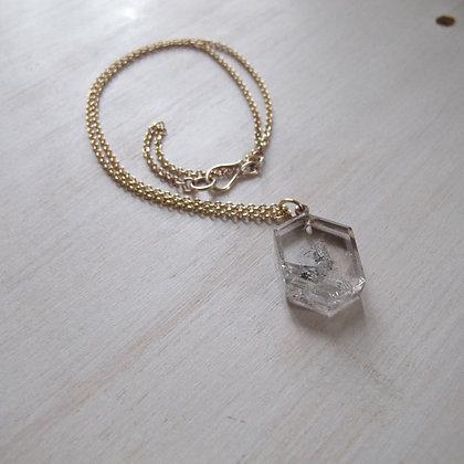 Slab quartz pendant on 14k cable chain