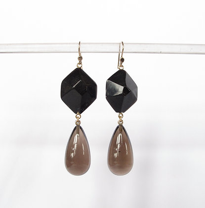Black horn and smoky quartz drop earrings on 14k gold