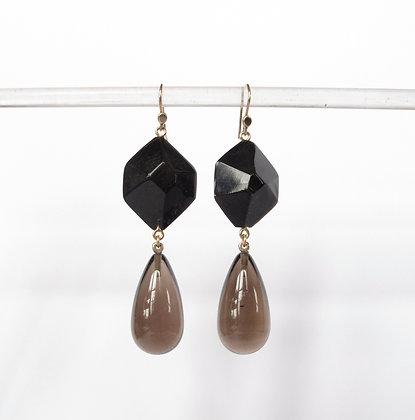 Black horn and smoky quartz drop earrings on 14k gold