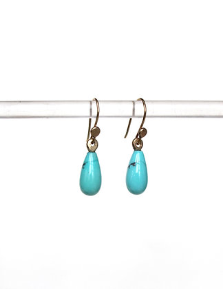 Tiny clear Turquoise drop earrings with 14k ear wires