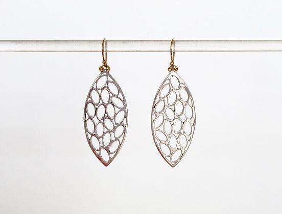 Long silver filigree leaf earrings