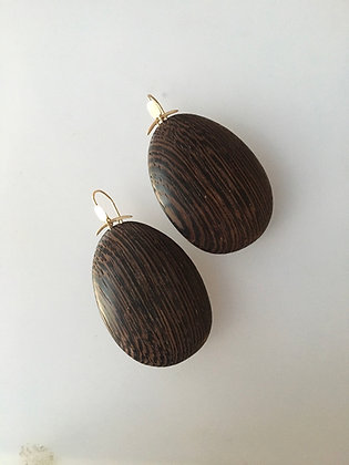 Large Wood oval earrings with 14k gold