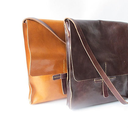 Computer cross body bag handmade in leather