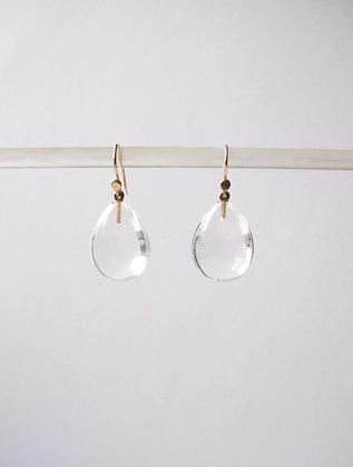 Clear quartz crystal pear shaped tear drop earring in 14k gold