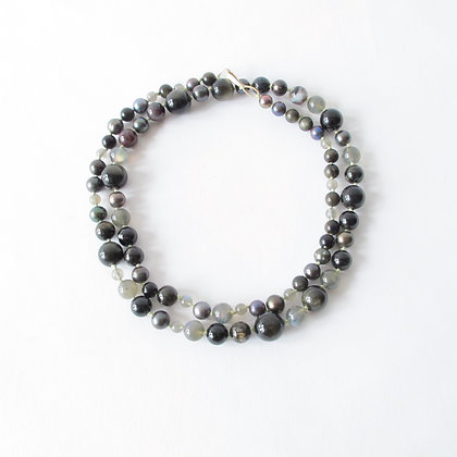 Labrodorite, black obsidian and black pearl long strand necklace