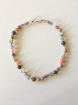 Mixed sunstone and moonstone beaded necklace