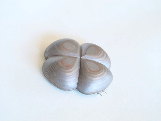 Silver finished plywood brooch