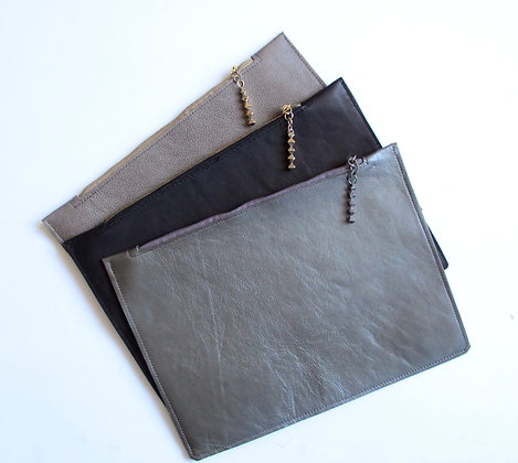 Hand made leather clutch