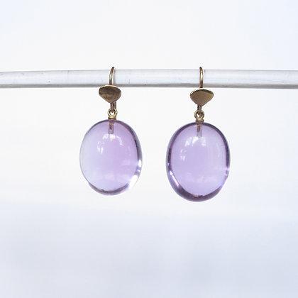 Amethyst drop earrings with 14k gold