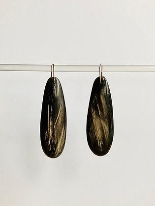 Long black horn earrings with white veining