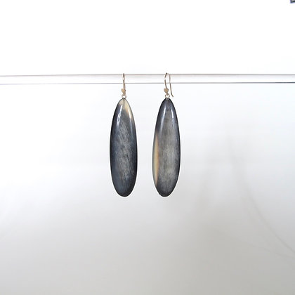Black horn drop earrings with translucent veining