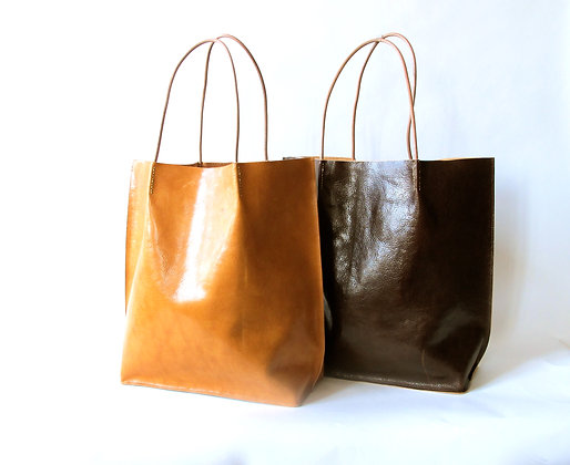 Large hand made leather Shopping tote