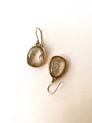 Faceted rutillated quartz drop set in 14k