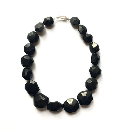 One of a kind black faceted wood bead necklace
