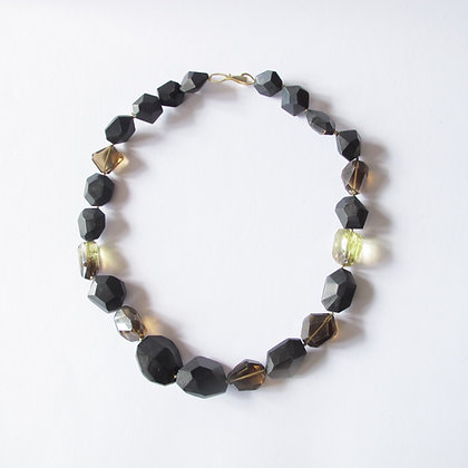 Faceted bead necklace with citrine and smokey quartz