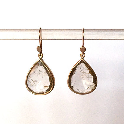 Faceted rutillated quartz tear drop set in 14k