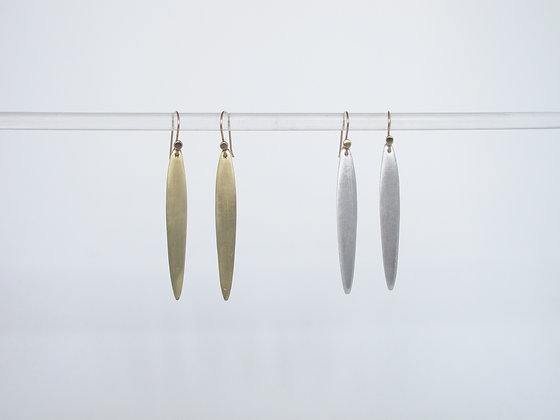 Dangling matte blade of grass drop earring simple statement everyday jewelry