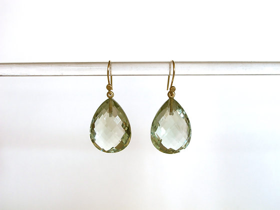 Faceted aquamarine pear shape checkerboard cut drop earrings