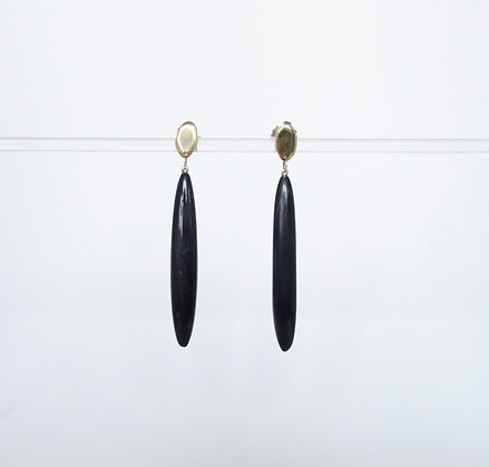 Long black horn dangling earring with gold post
