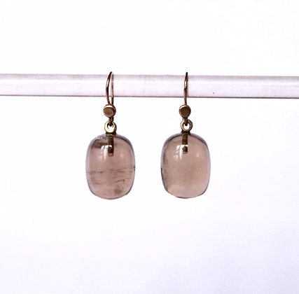Smoky quartz barrel drop earring in 14k gold