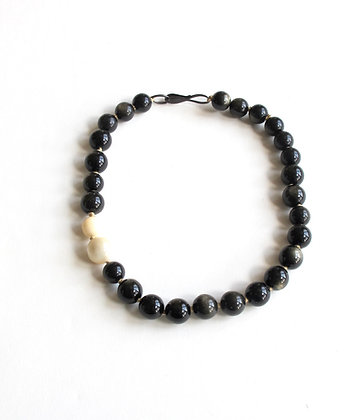 Golden obsidian and mother of pearl necklace