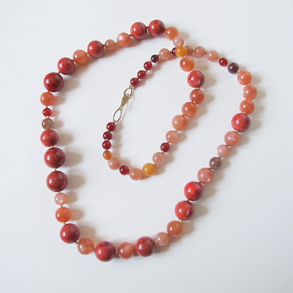 Mixed gemstone necklace with cinnabar and sunstone