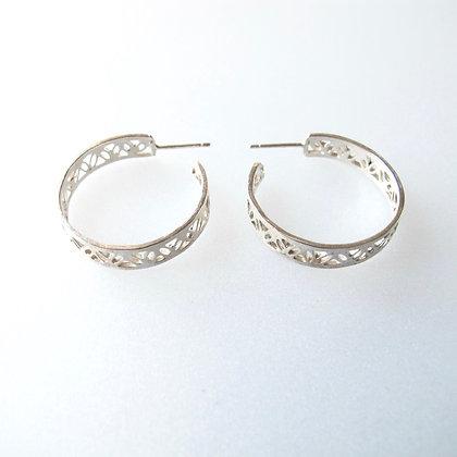 Silver filigree narrow hoops