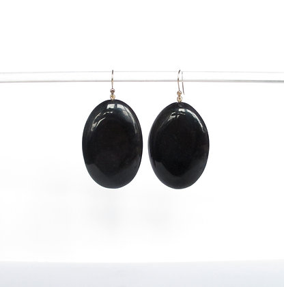 Black horn drop earrings