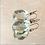 Thumbnail: Faceted aquamarine pear shape checkerboard cut drop earrings