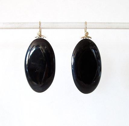 Black horn drop earrings
