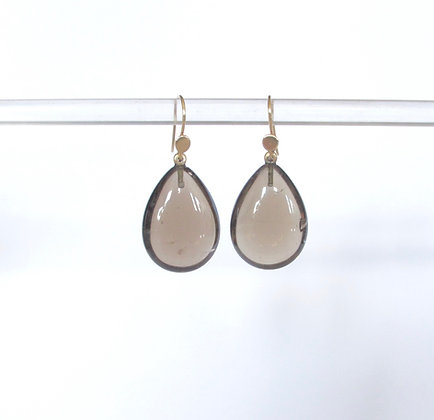 Smoky quartz pear shaped tear drop earring in 14k gold