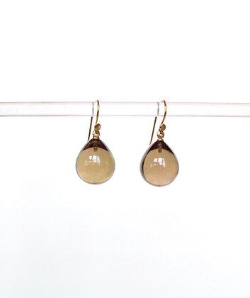 Smoky quartz pear shaped tear drop earring in 14k gold