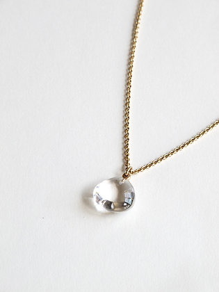 Clear rock crystal quartz pendant on 14k cable chain