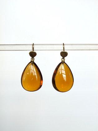 Dark citrine drop earrings with 14k gold
