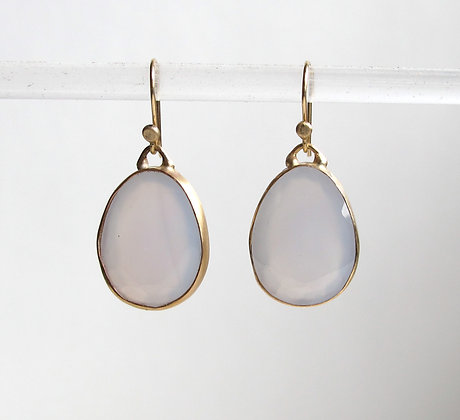 Faceted blue chalcecony drop set in 14k