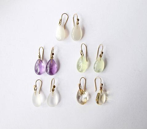 Pear shaped tear drop gem stone earring in 14k gold