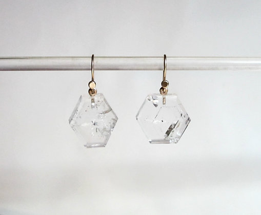 Crystal slabs with 14k gold