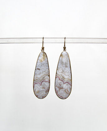 Pale blue swirly crazy lace agate 14k gold earrings