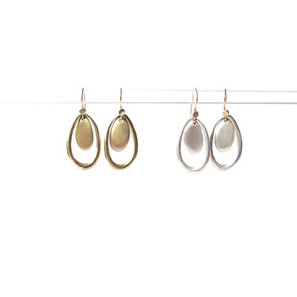 Dangling hoop and Pebble earring