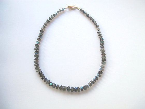Labrodorite bead graduated necklace with gold clasp